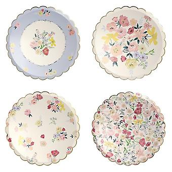 Meri Meri Floral Anglais Garden Large Dinner Paper Party Assiettes x 8