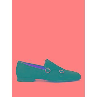 Santoni Mcnc13907la1gsywu60 Men's Blue Suede Monk Strap Shoes