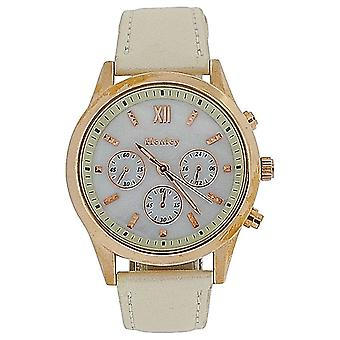Henley Ladies Mother Of Pearl Chrono Effect Dial & Pu Cream Strap Watch H06066.4