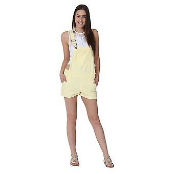 Ladies relaxed fit bib overall shorts yellow