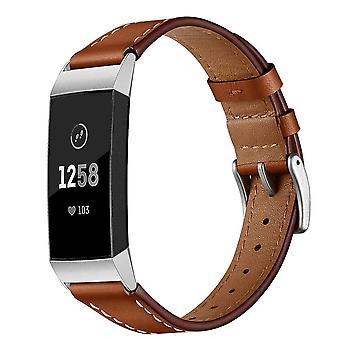 Ersättningsarmband kompatibelt med Fitbit Charge 3 - brunt läder