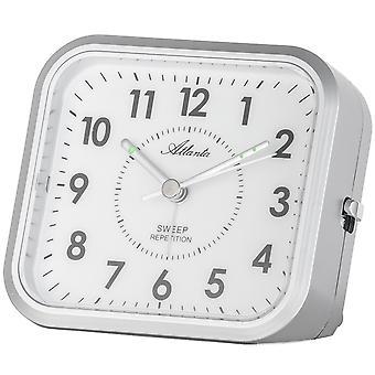 Atlanta 1768/19 alarm clock quartz analog silver quietly without ticking with light Snooze