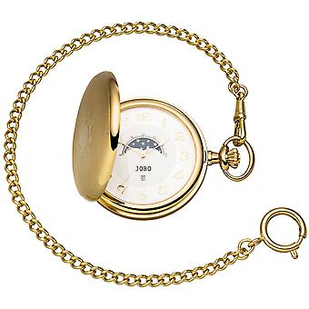 JOBO Pocket Watch Quartz Analog Plated Day-Night Jump Lid