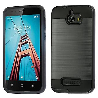 ASMYNA Brushed Hybrid Case for Coolpad Defiant -  Space Gray/Black