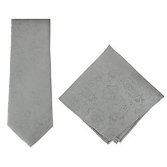 Michelsons of London Ornate Jacquard Silk Tie and Pocket Square Set - Silver