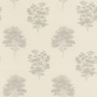 Faulsonntag Baum Print Design Tapete grau/braun Rasch 401554