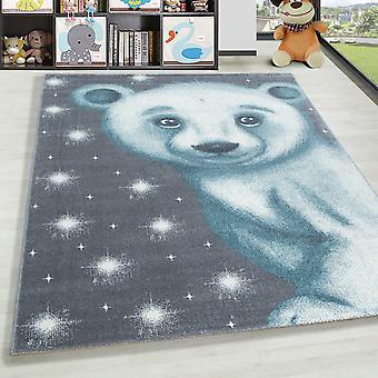 Children's Rug ShortFlower Polar Bear Nursery Baby Room Rug gris blue