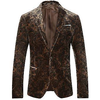 Allthemen Men's Business Casual High Quality Blazer Suit Printed Jacket Classic Wild Coats