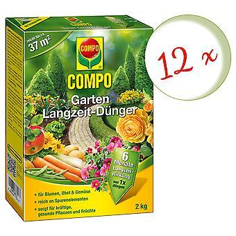 Sparset: 12 x compo jardim de fertilizante de longo prazo, 2 kg