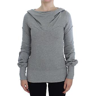 Gray Cotton Top Pullover Hooded Sweater