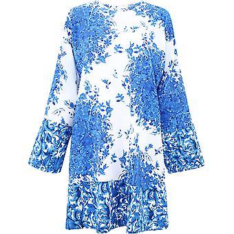 Valentino Ub3vat065t5ab8 Kvinnor's Vit/blå Sidenklänning