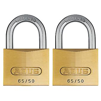 ABUS 65/50mm Brass Padlock Twin Pack Carded ABU6550TC