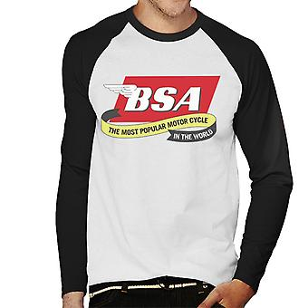 BSA De meest populaire motorfiets in de wereld mannen's Baseball Long Sleeved T-shirt