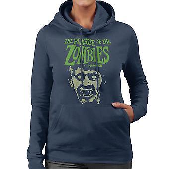 Hammer The Plague av zombies Face poster kvinnors Hooded tröja