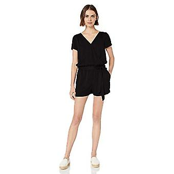 Marca - Daily Ritual Women's Tencel Short-Sleeve Wrap Romper, Preto, 2