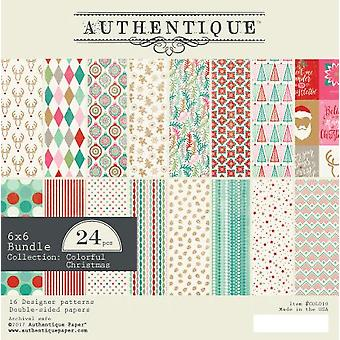 Authentique 6x6 Paper Pad Colorful Christmas