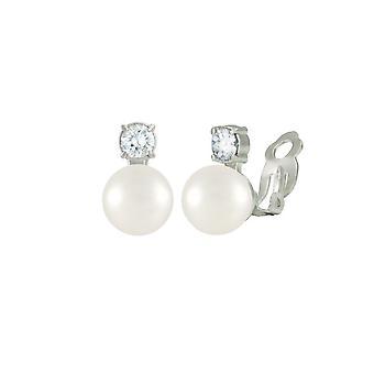 Éternelle Collection intemporelle coquille blanche Pearl & CZ fermoir Clip de Stud boucles d'oreilles