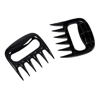 A Pair Silicone bear claw Shape barbecue fork Black