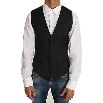 دولتشي وغابانا الصوف الأسود اللباس صدرية جيليت - TSH2453488