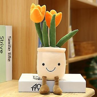 Lifelike Tulip Plants Plush Stuffed Decoration Toys Soft Bookshelf Decor Doll Creative Potted Flowers Pillow