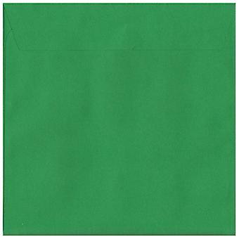 Holly Green Peel/Seal 160mm kvadrat farvet grøn konvolutter. 120gsm luksus FSC-certificeret papir. 160 mm x 160 mm. tegnebog stil kuvert.