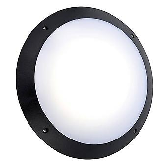Integrerad LED Utomhus Mikrovågsvägg ljus Matt Svart Texturerad, Opal IP65