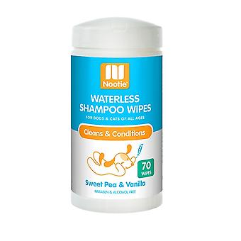 Nootie Waterless Shampoo Wipes for Dogs & Cats - Sweet Pea & Vanilla, 70 Pack
