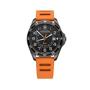 Victorinox Swiss Army Field Force Sport GMT Black Dial Orange Rubber Strap Men's Watch 241897