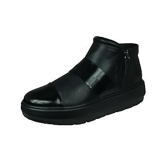 Geox D Kaula E Womens Leather Ankle Boots - Black