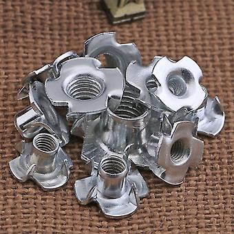 80pcs Zinc Plated Four Claws Blind Pronged T Nut For Furniture Hardware