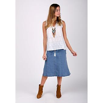 Kim stretch denim flared skirt - palewash