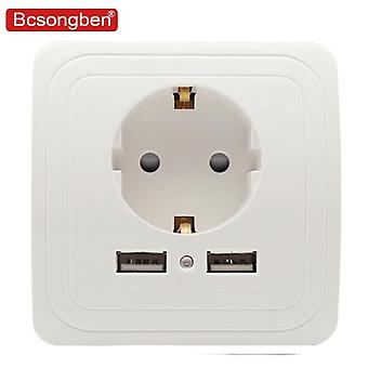 Usb Port Wall Charger Adapter Eu Plug Socket Power Outlet Black White Silver