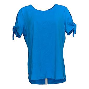 Women With Control Women's Top T-Shirt W/ Tie Sleeve Detail Blue A308536