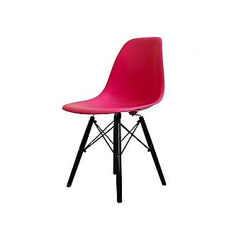 Charles Eames Style Bright Pink Plastic Retro Side Chair Black Wooden Legs