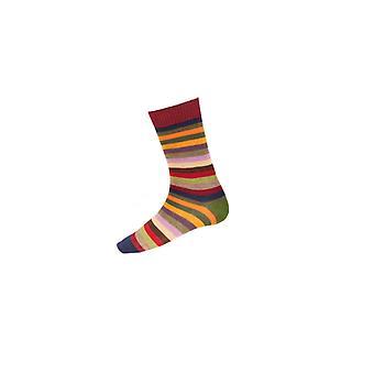Casa de Cheviot Gents Calcetines cortos Stripy - Borgoña