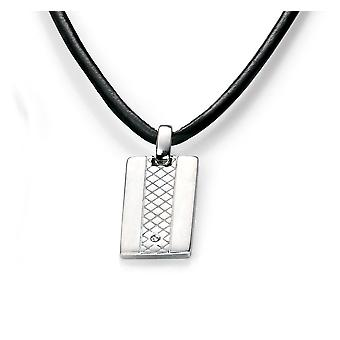 D for Diamond Boys Rhodium Plated Sterling Silver and Leather Diamond Dog Tag Necklace of Length 38cm