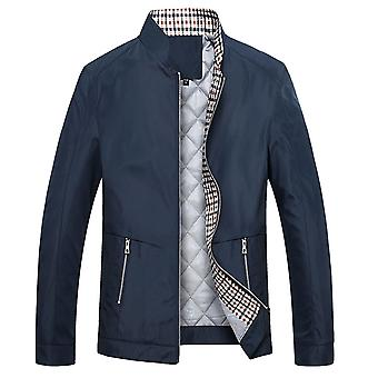 Men's Stand-collar Solid Color Padded Slim Jacket