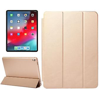 Horizontal Flip Solid Color Leather Case for iPad Pro 12.9 inch (2018), with Three-folding Holder & Wake-up / Sleep Function(Gold)