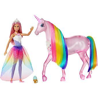 Barbie fxt26 dreamtopia magické svetlá jednorožec so svetlami a zvukmi a princezná barbie bábika s