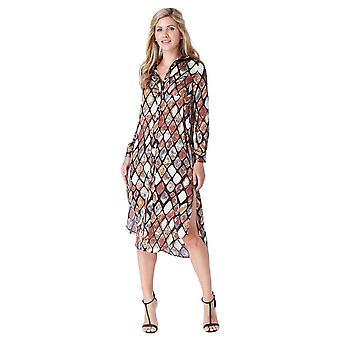 Multicoloured printed long shirt dress