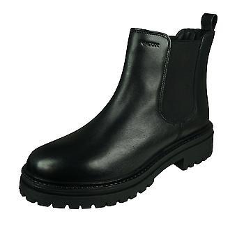 Geox D Iridea B Womens Leather Ankle /  Biker Boots - Black