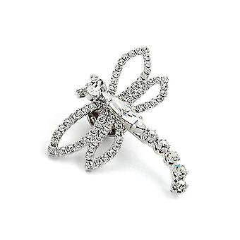 Embrayage Broche Strass Libellule Crystal Silver