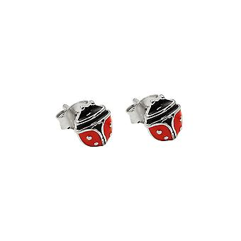 Brincos Ladybird Prata Vermelha 925