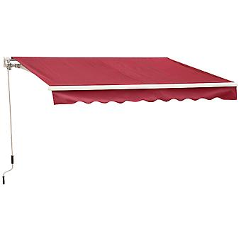 Outsunny 2.5m x 2m Garden Patio Manual Awning Canopy Sun Shade Shelter Retractable with Winding Handle Wine Red