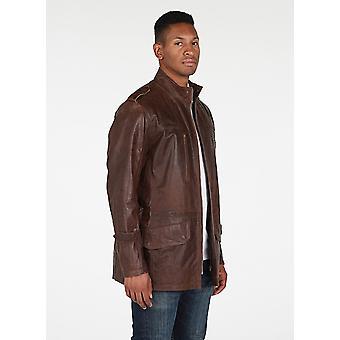 Mens 3/4 Longueur Vintage Leather Coat Antique