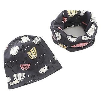 Plush Hat Scarf Set Fruit Owl Stars Print Neck Collar Cotton
