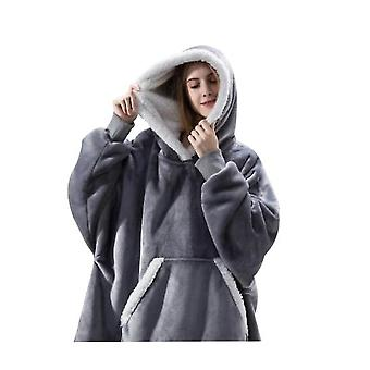 Women's Thick Pajamas Wearable Lamb Velvet Lazy Blanket Home Casual Plush Sweater With Hood