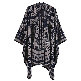 Ladies Autumn And Winter Large Size Square Butterfly Navy Blue Warm Scarf Blanket Shawl
