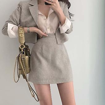 Φθινόπωρο Ρούχα Blazer Σετ, Φούστα και Καλλιέργεια, Σακάκι Παλτό + Ψηλές Φούστες Μέσης
