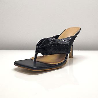 New Summer Flip Flops Fashion Braided Square Toe Ladies Sexy Thin High Heels
